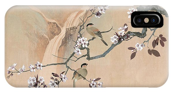Cherry Blossom Tree And Two Birds IPhone Case