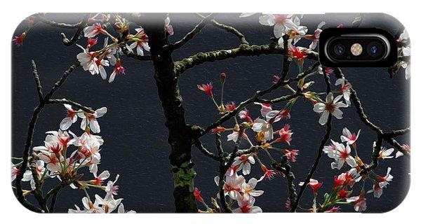 Cherry Blossoms On Dark Bkgrd IPhone Case