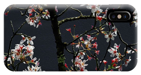 Cherry Blossoms On Dark Bkgrd IPhone Case