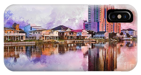 Cherry Grove Skyline - Digital Watercolor IPhone Case