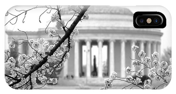Jefferson Memorial iPhone Case - Cherry Tree And Jefferson Memorial Elegance  by Olivier Le Queinec