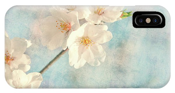 Texture iPhone Case - Cherry Tree Blossom by Delphimages Photo Creations