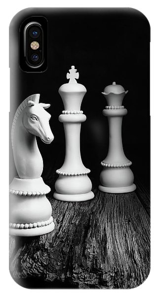 Knight iPhone Case - Chess Pieces On Old Wood by Tom Mc Nemar