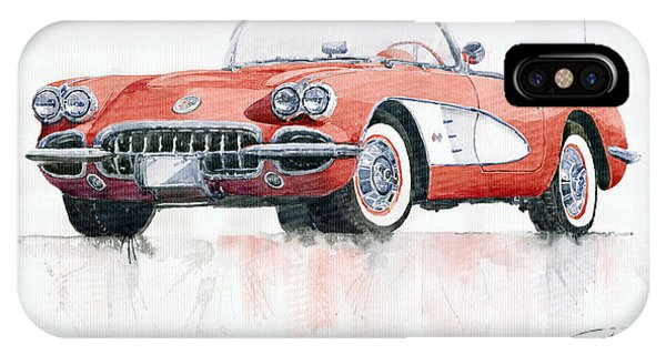 Car iPhone X Case - Chevrolet Corvette C1 1960  by Yuriy Shevchuk