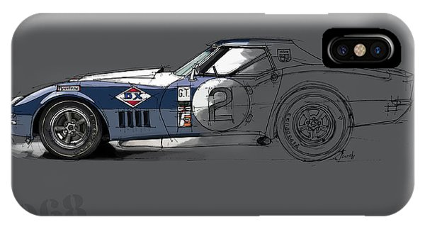 Arte iPhone Case - Chevrolet Corvette Convertible L88 1968, Ink And Markers Art Print by Drawspots Illustrations