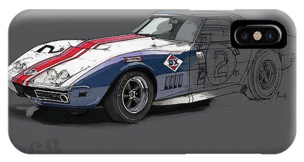 Arte iPhone Case - Chevrolet Corvette Convertible L88 1968,original Fast Race Car by Drawspots Illustrations
