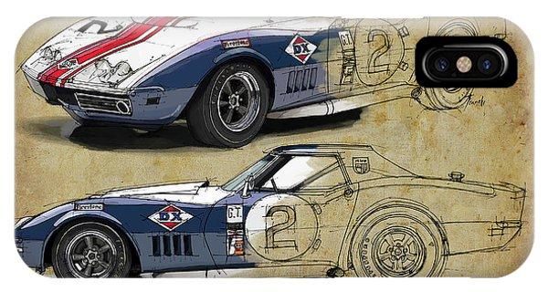 Arte iPhone Case - Chevrolet Corvette Convertible L88 1968,original Fast Race Car. Two Drawings, One Print by Drawspots Illustrations