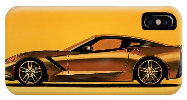 Oldtimer iPhone Case - Chevrolet Corvette Stingray 2013 Painting by Paul Meijering