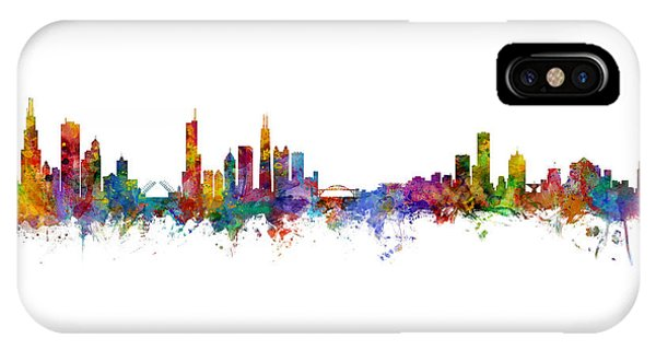 Chicago Skyline iPhone Case - Chicago And Milwaukee Skyline Mashup by Michael Tompsett