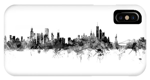 University Of Illinois iPhone Case - Chicago And New York City Skylines Mashup by Michael Tompsett