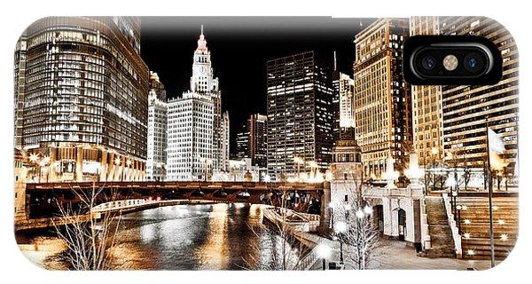 Chicago At Night At Wabash Avenue Bridge IPhone Case