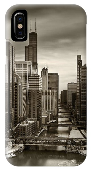 Chicago River iPhone Case - Chicago City View Afternoon B And W 16x20 by Steve Gadomski