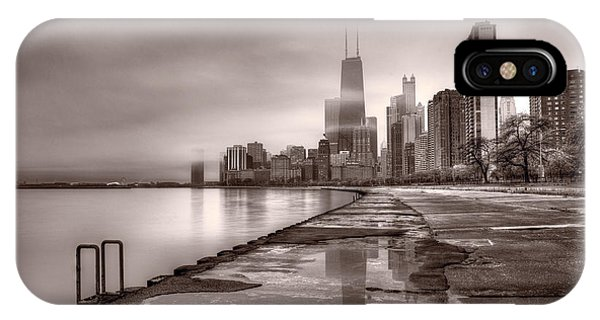 Chicago iPhone Case - Chicago Foggy Lakefront Bw by Steve Gadomski