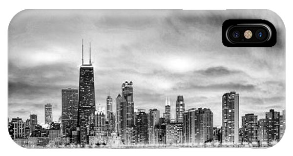 Chicago Gotham City Skyline Black And White Panorama IPhone Case