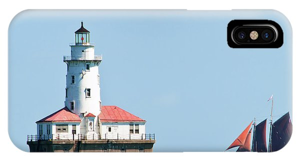 Chicago Harbor Lighthouse And A Tall Ship IPhone Case