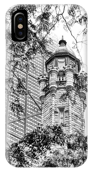 John Hancock Center iPhone Case - Chicago Historic Water Tower Fog Black And White by Christopher Arndt