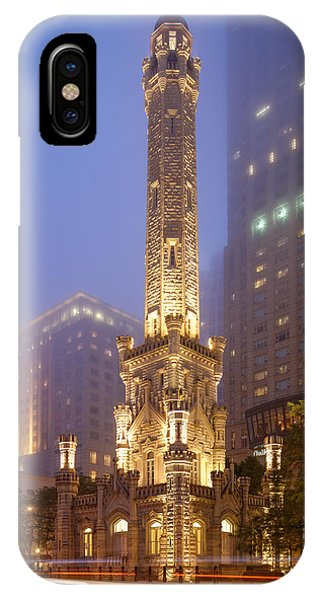 Chicago Historic Water Tower On Michigan Avenue Foggy Twilight - Chicago Illinois IPhone Case
