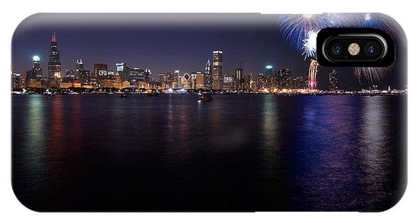 Fireworks iPhone Case - Chicago Lakefront Skyline Poster by Steve Gadomski