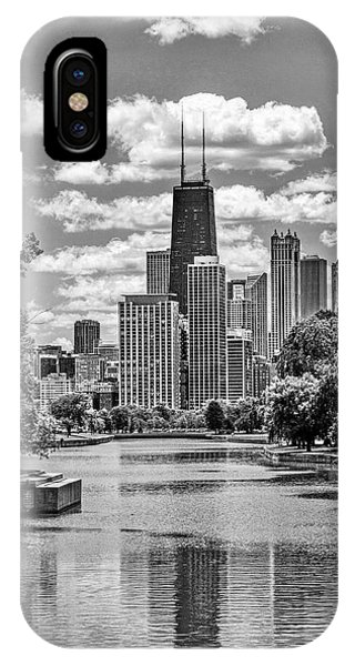 John Hancock Center iPhone Case - Chicago Lincoln Park Lagoon Black And White by Christopher Arndt