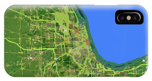 Chicago Art iPhone Case - Chicago Map, Old Map, Abstract, Abstract Art, Blue, Blue And Purple Art by Drawspots Illustrations