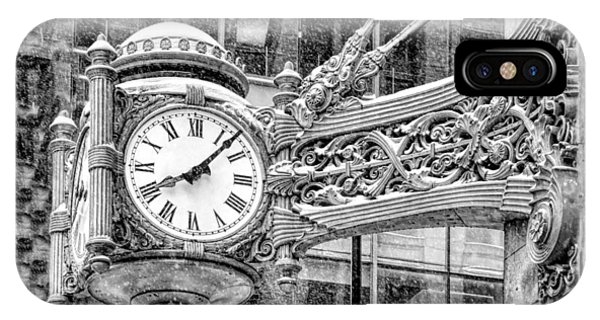 Chicago Marshall Field State Street Clock Black And White IPhone Case
