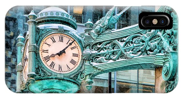Clock iPhone Case - Chicago Marshall Field State Street Clock by Christopher Arndt