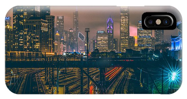 Transportation iPhone Case - Chicago Night Skyline  by Cory Dewald