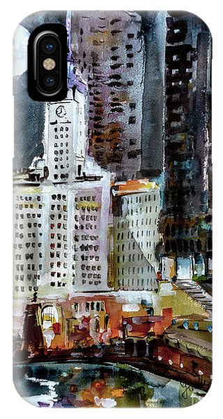 Chicago Night Wrigley Building Art IPhone Case