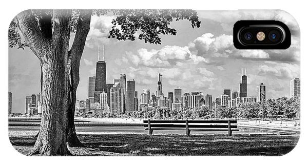 John Hancock Center iPhone Case - Chicago North Skyline Park Black And White by Christopher Arndt