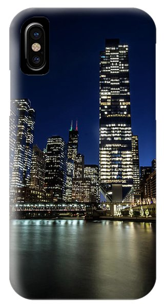 Chicago River And Skyline At Dusk  IPhone Case