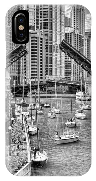 Chicago River iPhone Case - Chicago River Boat Migration In Black And White by Christopher Arndt