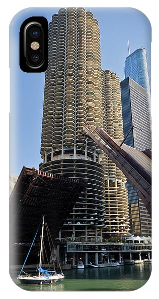 Chicago River iPhone Case - Chicago River Bridge Lift At Marina Towers by Steve Gadomski