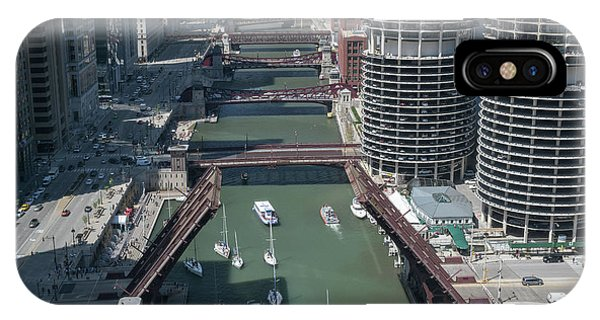 Chicago River iPhone Case - Chicago River Bridgelift by Steve Gadomski