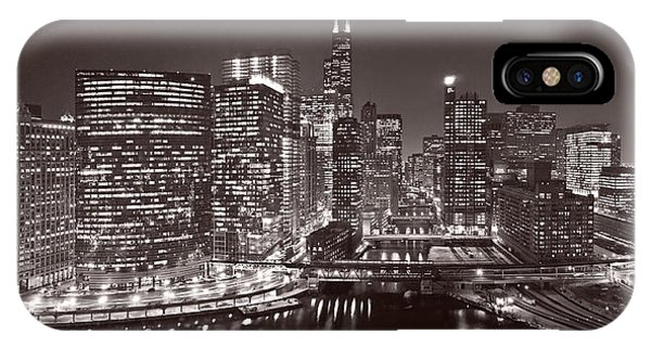Chicago River iPhone Case - Chicago River Panorama B W by Steve Gadomski