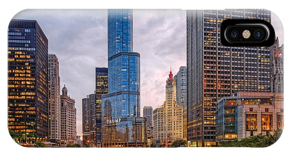 Chicago River iPhone Case - Chicago Riverwalk Equitable Wrigley Building And Trump International Tower And Hotel At Sunset  by Silvio Ligutti