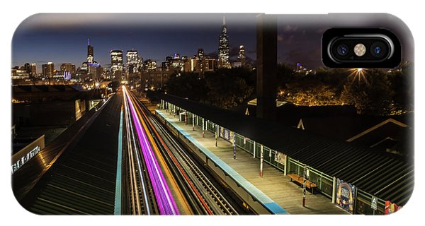 Chicago Skyline And Train Lights IPhone Case