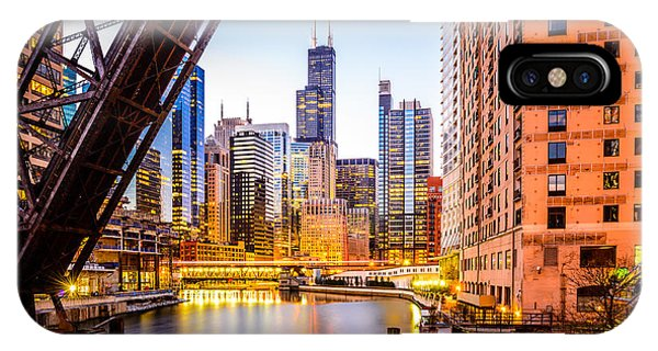 Chicago Skyline At Night And Kinzie Bridge IPhone Case