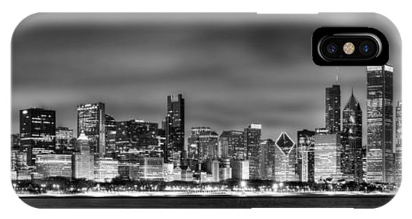 City Scenes iPhone Case - Chicago Skyline At Night Black And White by Jon Holiday