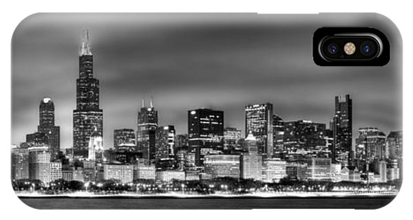 Chicago Skyline iPhone Case - Chicago Skyline At Night Black And White by Jon Holiday