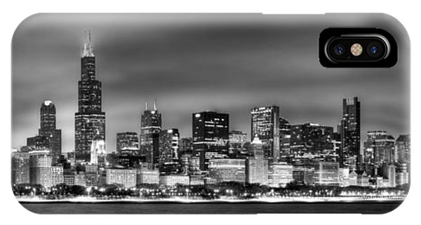 City iPhone Case - Chicago Skyline At Night Black And White by Jon Holiday