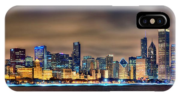 Night iPhone Case - Chicago Skyline At Night Panorama Color 1 To 3 Ratio by Jon Holiday