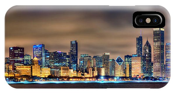 Chicago Skyline iPhone Case - Chicago Skyline At Night Panorama Color 1 To 3 Ratio by Jon Holiday