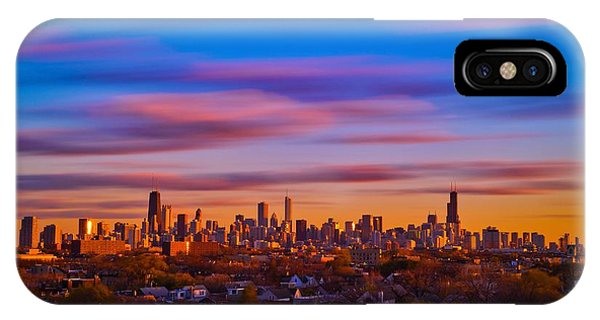 Chicago Skyline Blend Phone Case by Steve Kuzminski