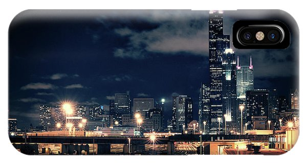 Skyscraper iPhone Case - Chicago Skyline Cityscape At Night by Bruno Passigatti