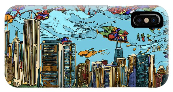 Chicago Art iPhone Case - Chicago Skyline Panorama by Bekim M