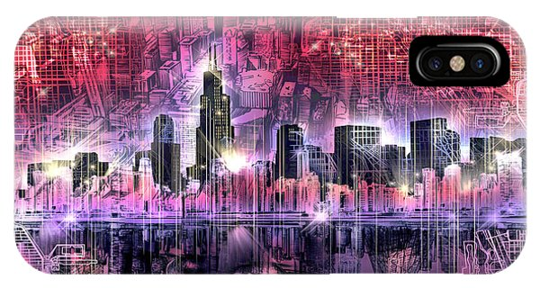 John Hancock Center iPhone Case - Chicago Skyline Red Version by Bekim M