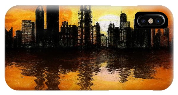 Chicago Skyline Sunset Reflection IPhone Case