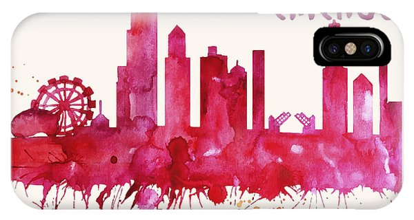 Chicago Skyline Watercolor Poster - Cityscape Painting Artwork IPhone Case