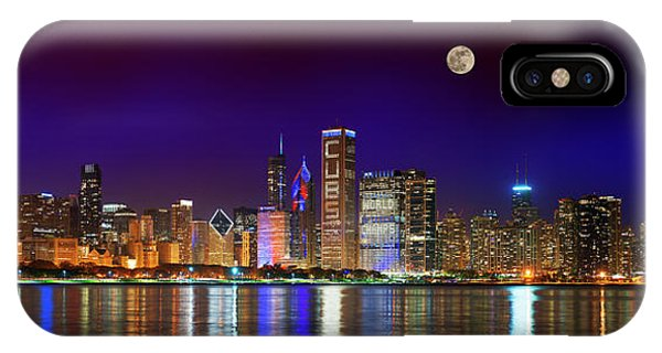 Chicago Skyline With Cubs World Series Lights Night, Moonrise, Lake Michigan, Chicago, Illinois IPhone Case
