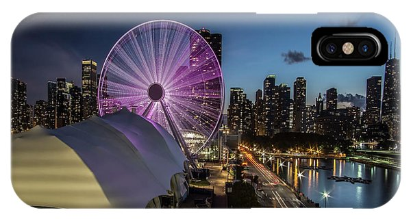 Chicago Skyline With New Ferris Wheel At Dusk IPhone Case